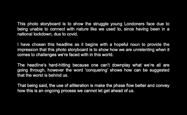 White text on a black background reads: This photo storyboard is to show the struggle young Londoners face due to being unable to connect with nature like we used to, since having been in a national lockdown, due to covid.   I have chosen this headli