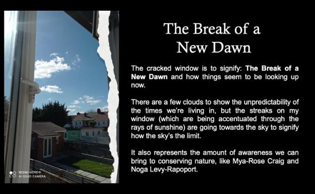 A photo taken through an open window, overlooking houses and a garden under a bright blue sky. White text on a black background reads: The cracked window is to signify: The Break of a New Dawn and how things seem to be looking up now.  There are a fe