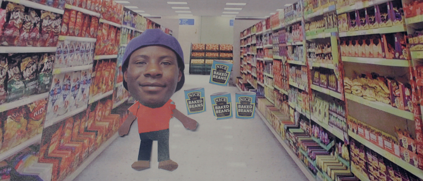 A cartoon of a young person in a supermarket